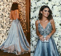 Wholesale 2017 New Gorgeous A line Spaghetti Strap Sexy Prom Dresses Long Cusotm Made Luxury Beaded Crystals Sleeveless Backless Evening Party Gowns