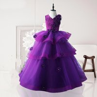 Wholesale sic elegant purple lace tulle children s beauty pageant first communion flower children s clothing Custom size sizes