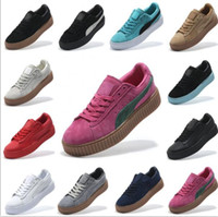 Wholesale 2017 With Shoes Boxes Suede Creeper Black Star White Black Women Men Casual Shoes Fashion Ladies Rihanna shoes sneakers women men