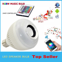 Wholesale Wireless bluetooth W LED speaker bulb Audio Speaker E27 Colorful music playing Lighting With Keys IR remote Control