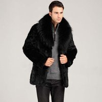 Wholesale Mens Faux Fur Coats Winter Solid Color Long Sleeve Stand Collar Fur Coat Male XL Cardigan Casual Leather Jacket Fur Men