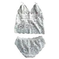 Wholesale Women Sexy Lace Strappy Spaghetti Straps Fashion Sheathy Solid Two Piece Brassiere Sets Bra Sets White S M L XL