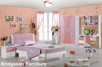 Wholesale MDF Teenage Child Children Kids Girl Bedroom Furniture Set with Door Wardrobe Nightstand Bookcase