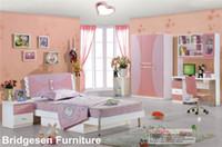Wholesale MDF Teenage Child Children Kids Girl Bedroom Furniture Set with Door Wardrobe Nightstand Bookcase
