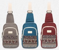Wholesale Canvas Chest Bags Day Packs for Men New Arrival Vintage Single Shoulder Bags with National Pattern