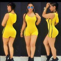 achat en gros de robes serrées courtes jaune-La nouvelle robe d'été Casual Sportswear Sexy Collier Vest sans manches avec capuche Shorts serrés Siamese Stripe Trim Vert Jaune Facultatif Street