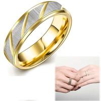 Couple Ring 316L en acier inoxydable MenWomen Finger Ring amoureux de titane Bague de fiançailles en acier US 6-10 bijoux de mode plaqué or 18K