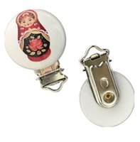 4.3cm*2.9cm baby doll patterns - Baby Pacifier Clips Russian dolls Pattern White Wood Metal Holders cm x2 cm XP0339