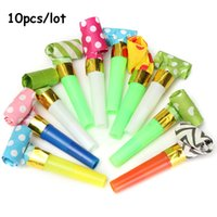 Wholesale Small Colorful Funny Whistles Kids Childrens Birthday Party Dots Blowing Dragon Blowout Baby Birthday Supplies Toys gift