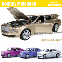 Wholesale 1 Scale Diecast Alloy Metal Car Model ForBentley Mulsanne Collection Model Powerful Pull Back Toys Car With Sound Light