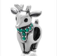 Se adapta a la pulsera europea de los encantos de la plata esterlina 925 granos ciervos de la Navidad con la joyería europea del encanto DIY de la cz verde apta para el regalo de las mujeres