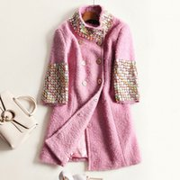 beads stand - Europe and the United States women s new winter heavy hammer bead double breasted wool pink coat