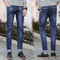 Wholesale Men s jeans in four seasons fashion cowboy style brand high quality elastic jeans of the famous designer Light blue