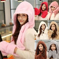 Wholesale Winter Sweet Cute Warmer Girl s Plush Fluffy Women s Fashion Hat Beanie with Long Scarf Mittens Gloves Earflap