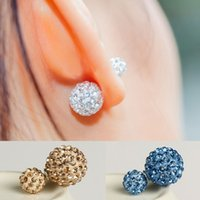 Wholesale 2016 New Fashion Women Luxury Brand Double Zircon Statement Ball Stud Earrings Accessories Jewelry For Women E1367