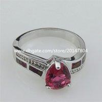 australian opal rings - 21038 Statement Silver Red Rhinestone Luck Real Australian Opal Bridal Ring SZ