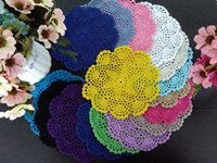 Wholesale pic cm round cotton crochet lace doilies fabric felt as innovative item for dinning table pad coasters mat