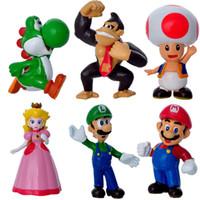 Wholesale 4 CM High Quality PVC Super Mario Bros Luigi Youshi mario Action Figures Gift Toy