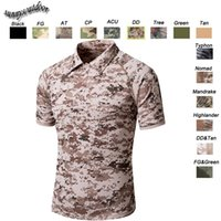 Wholesale Outdoor Woodland Hunting Shooting Shirt Battle Dress Uniform Tactical BDU Army Combat Clothing Quick Dry Camouflage T Shirt SO05