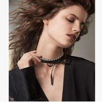 Wholesale Fashion rhinestone diamond Chokers necklace real leather bow knot collar Choke Vintage Gothic jewelry