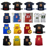 maillots hommes achat en gros de-LeBron James 23 # Basketball Jersey 2 Kyrie Irving avec chemises à manches courtes Hommes Top Quality Throwback Athletic Apparel Nom cousu