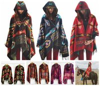 Wholesale Women Bohemian Hooded Shawl scarves oversized scarf Lady thick Hooded Cape Bohemian shawls scarves Hooded scarf cm KKA931