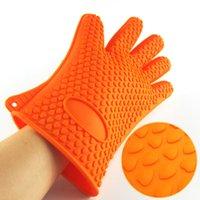 Wholesale Home Kitchen Silicone Oven Gloves Heat Resistant Gloves Temperature Resistant Gloves Color Send Randomly
