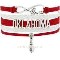 best crimson charms - Custom Infinity Love Oklahoma Sooners Football Multilayer Wrap Bracelet Best Gift Crimson Leather Bracelet Women s Fashion Bracelet
