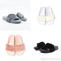 Wholesale Rihanna Slippers Shoes Send With packing bag Pink Black White Grey Leadcat Fenty Rihanna Women Slippers Indoor Sandals Girls Scuffs Cheap