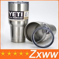 Wholesale YETI Bilayer Stainless Steel Insulation Cup OZ OZ OZ Cups Travel Vehicl Beer Rambler Tumblers Clear lids Sports Mugs