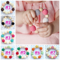 Bracelet baby toy trains - 7styles Infant Wool Ball Beads Teether bracelet Baby cute Ins Wooden Teething Training Nursling Toys Smooth