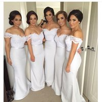 Wholesale White Off The Shoulder Bridesmaid Dress Beading Mermaid Style Appliqued Satin Wedding Party Dresses Maid Of Honor Gowns