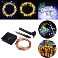 Wholesale Solar LED String Light Holiday Outdoor LED M Christmas Xmas Wedding Party Decorations Garland Lighting white warmwhtie muti