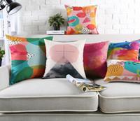 asian sofa - Fantasy Colour Paintings Geometric Art Cushion Covers Southeast Asian Fruit Watermelon Pillow Cover Decorative Sofa Linen Cotton Pillow Case