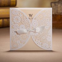 Wholesale White Wedding Invitations Cards Hollow Foil Stamping Uneven With Ribbon Lace Printable Personal Customization Envelopes Seals