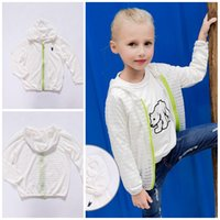 Wholesale Baby Clothes Girls Cardigan Floatsuit Spring Children Striated Zippered With Hood Long Sleeve Tops Baby Rashguard Kids Clothing XY224