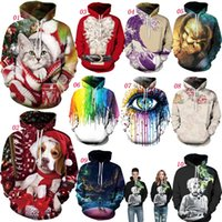 Wholesale Christmas Gifts Galaxy Funny Cat Santa Skull Artwork D Graphic Print Men Women Xmas Hooded Hoodies Pullover Sweatshirts Coat Tops Outwear