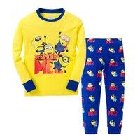 venda por atacado pyjama-Mãos Dourado Novo Cartoon Kids Set Manga Longa Primavera Outono Pijamas Roupas Baby Lovely Pijamas Suit Crianças Trajes Frete Grátis