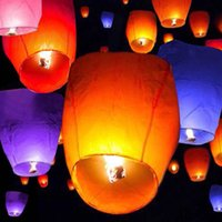 Wholesale 10pcs Wishing Lanterns SKY Flying Balloons Lights Halloween Lights Chinese Kongming Laterns Paper Candle Wish Lamp