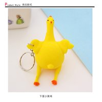 Wholesale Creative toys funny vent Keychain bag decoration squeeze chicken egg laying hens spoof tricky funny Mini trumpet decompression