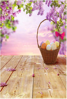 Wholesale 5x7ft Computer Printed Easter Photography Backdrop Eggs Baskets Cherry Blossoms Wooden Floor Photo Background for Studio