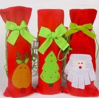 Bolso de la botella de vino rojo de la historieta del precio directo de la fábrica Bolso del regalo de la Navidad de Papá Noel Decoración de las decoraciones de la Navidad de Navidad Decoración Festive Party Supplies