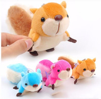 Wholesale 8cm Cute fun little squirrel plush toy model pendant tail cartoon doll key bag ornaments to send their children Christmas gifts