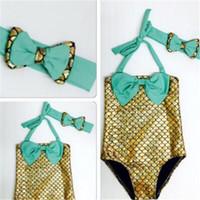 Wholesale Mermaid Bikini New Children Girls Little Mermaid Bikini Suit Baby Swimming Costume Swimsuit Swimwear with Cute Headband years