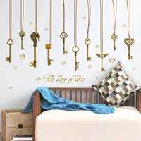 abstract wallpaper murals - 60 cm Wall Stickers DIY Art Decal Removeable Wallpaper Mural Sticker for Kids Room Bedroom Living Room SK9115 The Key of Love Keys Strips