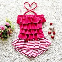 Wholesale 2017 Summer New Baby Girl Swimwear Stripe Hot spring Fashion One Piece Layers Swimming Suit Y