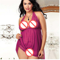 Wholesale Hot Sales Sexy Camisole Women Sexy Set Underwear Lace Deep V Racy Temptation Erotic Sexy Fuchsia Plus Size Skirt G string