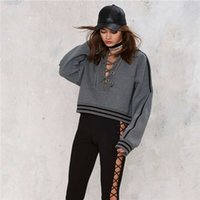 Wholesale Autumn And Winter Women s Clothing Coat Lady Hoodies Sweater Tied rope Fashion Slim Short loading Hollow