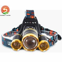 Wholesale Newly CREE XML T6 LED Head lights W lm super bright headlamp warm white pure white X18650 battery AC Charger with Retail package