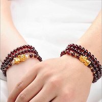Wholesale 3D Gold plating Brave troop Three ring garnet men and women Popular fashion Ornaments accessory Charm Bracelets for ladie